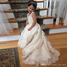 2016 Lace Flower Girls Dresses For Weddings V Neck Spaghetti Sequins Appliques Tulle Satin Sweep Train White Ivory Pageant Dresses For Girls,Kids Prom Dresses Grey Flower Girl Dress, Lace Flower Girls, Lace Flowers, Bridesmaid Dresses Uk, Wedding Party Dresses, Quinceanera Dresses, Dress Party, Homecoming Dresses, Party Wear