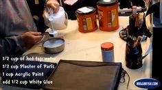 homemade gesso 1/2c hot tap water 1/2c plaster of paris 1c acrylic paint 1/2c white Elmer's glue