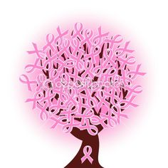 Vector illustration of a breast cancer pink ribbon tree by trinochka