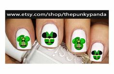 Buy 2 Get 1 Free-180 Decals Total-60 Nail Decals Per Set - Mickey Minnie Head - St. Patricks Day - Disney- Nail Art Nail Decals by ThePunkyPanda
