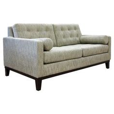 """Midcentury-inspired tufted loveseat with ash velvet upholstery.  Product: LoveseatConstruction Material: Wood and fabricColor: AshDimensions: 34"""" H x 68"""" W x 36"""" D Note: Assembly required. Hardware included. Pillows not included.Cleaning and Care: Keep furniture out of direct sunlight to avoid sun and light damage and color bleaching. Clean wood with a soft, dry cloth to remove dust. Use a wood cleaner/protection agent to remove dirt and grime."""