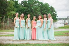 Bridesmaids in Mint, Maid of Honor in Coral
