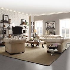 TRIBECCA HOME Knightsbridge Beige Linen Tufted Scroll Arm Chesterfield Sofa - Overstock Shopping - Great Deals on Tribecca Home Sofas & Loveseats
