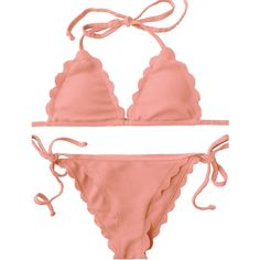 Scalloped Tie Side String Bikini Swimwear Orangepink ($14) ❤ liked on Polyvore featuring swimwear, bikinis, string bikini, scalloped edge bikini, scalloped bikini, scalloped swimwear and g string bikini swimwear