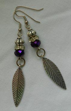 Handmade Earrings Silver Leaf Charm Purple Faceted Crystal Bead and Rhinestone  #Handmade #DropDangle 2014   Sold