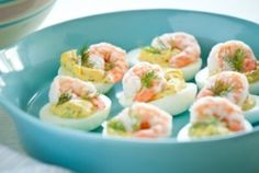 Recipes From the Road – Deviled Eggs with Shrimp    Make this for the weekend!