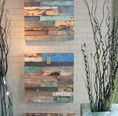 Wall art from reclaimed wood