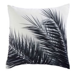 AROHA white and black palm tree print fabric cushion 45 x 45 cm