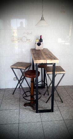 industrial style reclaimed wood breakfast bar and stools