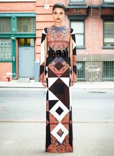 """Givenchy mix up three hot print trends - scarf prints, large scale geometrics and symmetry to create this stand out print"" WGSN"