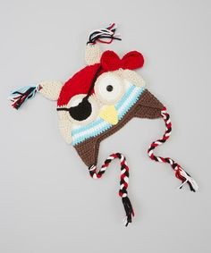 Take a look at this Red & White Pirate Owl Earflap Beanie by Owl Bee Cute on #zulily today!
