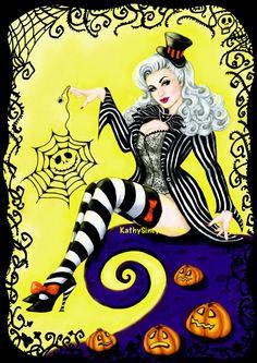 My Halloween 2015 artwork - Lady Skellington, a tribute to Tim Burton and Nightmare Before Christmas