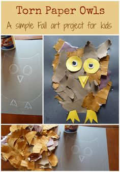 Torn Paper Owls. A simple fall art project for kids.