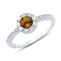 Solitaire Round Cut Citrine Diamond Gemstone Ring in14K White Gold    $341.00