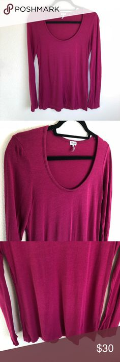 SPLENDID Super Soft Essential Pink Long Sleeve Tee Super soft and comfortable long sleeve tee in size medium. Perfect for year round wear and can be dressed up or down. ALL  OFFERS WELCOMED. ☑️ From a smoke free and pet free home ☑️ your order ships within 24 hours! Make sure to check out my other items for an awesome bundle deal! If additional photos needed, please specify of what and where! TOP RATED SELLER, TOP SHARER, FAST SHIPPER & POSH AMBASSADOR 💃🏽 Splendid Tops Tees - Long Sleeve
