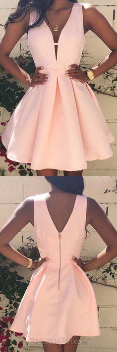 V Neck Prom Dress, Satin Prom Dresses, Low Back Homecoming Dress, Pink Homecoming Dresses, Sexy Cocktail Dresses