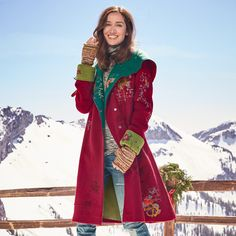 """LEGENDS OF THE FOREST COAT--Our embroidered boiled wool coat takes embellishment to a new level with shadowed poppies and vibrant needlework blooms. Fully lined. On-seam pockets. Leather buckle keeps hood snug. Merino wool. Hand wash. Imported. Exclusive. Sizes S (2 to 4), M (6 to 8), L (10 to 12), XL (14 to 16). Approx. 41-1/2""""L."""