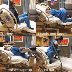 Here are a few ways to use hospital beds to help your baby progress during labor. What a great visual! Be encouraged and use the room in whatever way suits you.transform that bed ☺️ Photo credit: Pregnancy Labor, Pregnancy Workout, Prenatal Workout, Babyshower, Labor Positions, Baby Life Hacks, Delivering A Baby, Baby Planning, Women Health
