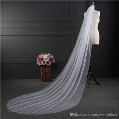 White/Ivory/Champagne Wedding Veil Simple One Layer Tulle Bridal Veil 3m Long Bridal Accessories Cheap Veil Veil Fashion Trend Simple Online with $8.0/Piece on Rosemarybridaldress's Store | DHgate.com