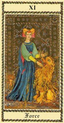 The Medieval Scapini Tarot. Аркан VIII (XI) Сила.