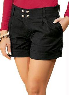 bermudas femininas sociais 2013 - Pesquisa Google Summer Shorts Outfits, Casual Shorts, Casual Outfits, Sewing Shorts, Girl Bottoms, Pleated Shorts, Cute Shorts, Everyday Outfits, Black Denim Shorts