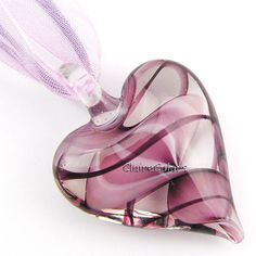 Fashion Jewelry Love Heart Swirls Murano Lampwork Glass Beads Pendant Necklace | eBay
