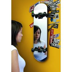 The Skate Mirror is made from stainless steel and mirrored glass, as well as genuine skate trucks. Hang it vertically or horizontally or simply prop it up in the corner of the room, do any of these th. Skateboard Furniture, Skate Surf, The Bell Jar, Quirky Gifts, Red Candy, Jar Lights, Glass, Product Development, Mirror Mirror