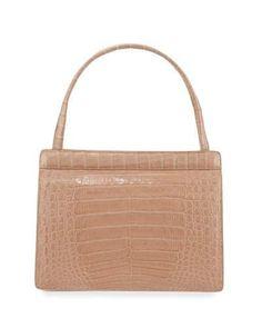 NANCY GONZALEZ Top-Handle Crocodile Frame Bag. #nancygonzalez #bags #hand bags #suede #lining #