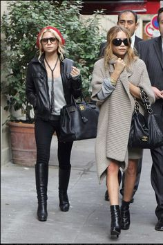 Ashley Olsen wearing Hermes Birkin Bag In Black Chanel Vintage Bag Christian Louboutin Boots Persol PO 0649 Sunglasses Prada Ankle Boots Stella McCartney Knitted Shawl Coat J Brand 10 Ankle Skinny Jeans