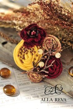 """Купить Брошь """"Краски осени"""" - комбинированный, желтый, бордовый, брошь, брошь из ткани, ткань"""