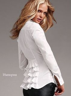 I do love a crisp white shirt with a fun, feminine detail! Classic White Shirt, Erin Heatherton, Refashion, Blouse Designs, Style Me, Ideias Fashion, Feminine, Couture, Stylish