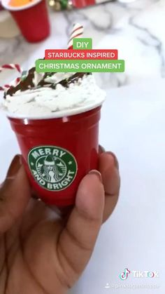 Super cute and easy Starbucks inspired ornaments for Christmas! Diy Christmas Ornaments, Homemade Christmas, Holiday Crafts, Christmas Crafts, Fake Cupcakes, Fake Cake, Starbucks Christmas, Fake Food, Christmas Activities