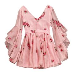 V-neck Flare Sleeve Flower Short Ruched Mini Pink Chiffon Dress SE – deevybuy Clothes Stylish Dress Designs, Stylish Dresses, Cute Dresses, Trendy Outfits, Casual Dresses, Cute Outfits, Pink Dresses, Flower Dresses, Indian Fashion Dresses