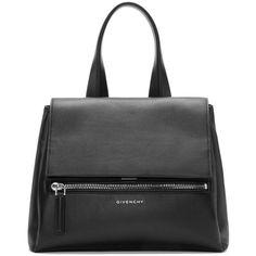 Givenchy Black Leather Small Pandora Bag (25,765 MXN) ❤ liked on Polyvore featuring bags, handbags, shoulder bags, leather shoulder bag, real leather purses, leather purse, genuine leather handbags and structured leather handbag