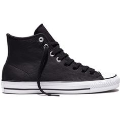 Converse CONS CTAS Pro x Jason Jessee – black/white/black Sneakers ($50) ❤ liked on Polyvore featuring shoes, sneakers, black sneakers, black white sneakers, black trainers, leather sneakers and black leather shoes