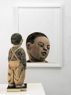 Artist: Akio Takamori, Title: Child in Ocher Pants (view 2), 2007 - click to close window