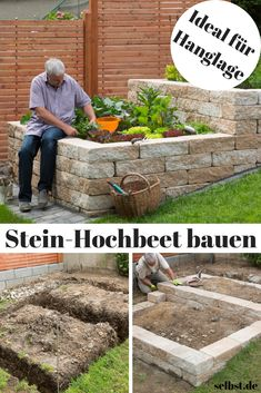 Stein-Hochbeet Put on your own harvest instead of supermarket – with this self-built stone raised bed! Planting Vegetables, Vegetable Garden, Garden Plants, Diy Garden, Stone Raised Beds, Raised Garden Beds, Garden Types, Garden Cottage, Plantation