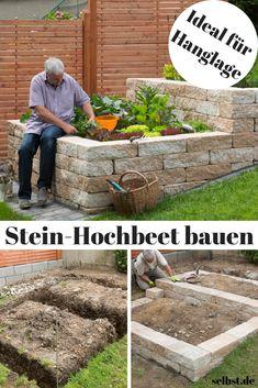 Setze auf eigene Ernte statt Supermarkt – mit diesem selbst gebauten Stein-Hochbeet! #hochbeet #stein #beet #gemüse #pflanzen #garten #hang #selbst