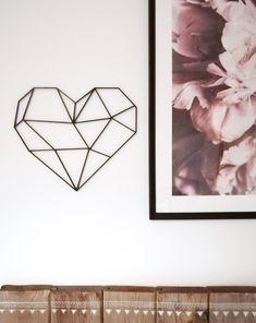 Geometric Heart Sculpture - Hanging Wall Art - Figure Wall Decor - Scandinavian Style Hygge - Home Wall Decor - Home Decor - Boho Wall Home Wall Decor, Living Room Decor, Geometric Heart, Nordic Interior, Hanging Wall Art, Scandinavian Style, Hygge, Creative Ideas, Boho Fashion