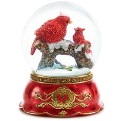 Home Accents Red Woodland Wonder Cardinal Mom And Baby Snow Globe (1.012.365 IDR) ❤ liked on Polyvore featuring red