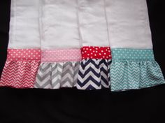 Set of 2 Ruffled, Personalized Baby Burp Clothes on Etsy, $15.00