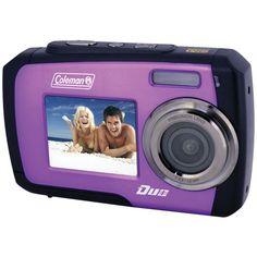 Purple Waterproof Dual Screen Digital Camera Coleman 14.0 Megapixel Duo
