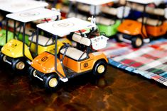 Cute golf cart favors at a Golf Party #golf #partyfavors