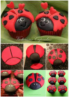 DIY Make Cute Ladybug Cupcakes - They are so many ladybug party ideas. The ladybug cupcake is certainly one of them. It is a gre - Ladybug Pretzels, Ladybug Cookies, Ladybug Cupcakes, Ladybug Party, Cute Cupcakes, Snowman Cupcakes, Giant Cupcakes, Valentines Cakes And Cupcakes, Cupcakes Kids