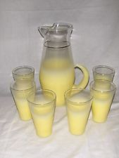 1950's Vintage West Virginia Blendo Frosted Lemonade Pitcher & 6 Glasses YELLOW, $29.99