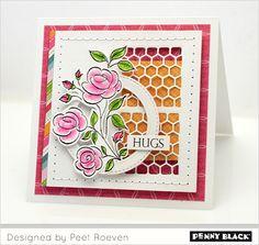 Penny Black stansmal 51-346 Thank You Squares |  stempel 30-421 Flower Medley