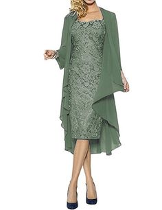 Womens Lace Mother of the Bride Dress Formal Gowns with Jacket Pastel Green US8 at Amazon Women's Clothing store: