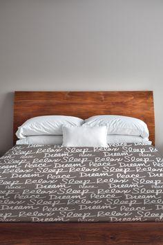 All Over Sleep Words Duvet Cover - Driftwood/White