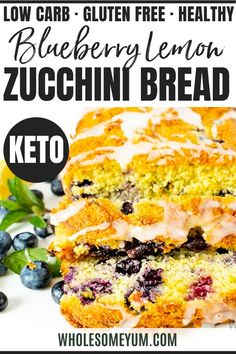 Low Carb Keto Lemon Blueberry Zucchini Bread Recipe - This easy low carb keto zucchini bread recipe is so moist, sweet, and flavorful, you'd never guess it's healthy. See how to make lemon blueberry zucchini bread with almond flour, in just 15 minutes prep time. #wholesomeyum #keto #ketorecipes #zucchini #blueberries #lemon #ketobread Lemon Recipes, Real Food Recipes, Dessert Recipes, Cooking Recipes, Keto Desserts, Diet Recipes, Lowest Carb Bread Recipe, Low Carb Bread, Low Carb Keto