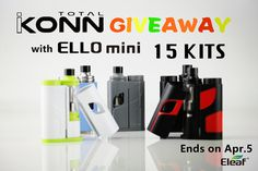 [#GIVEAWAY] Wanna try #Eleaf ALL-NEW series, the #iKonn #Total with #ELLO mini? Do not miss out this chance!!! TOTALLY 15 kits are now being given away to you!! Enter here to win: www.eleafworld.com/eleaf-ikonn-total-with-ello-mini-giveaway. Share this great news with your friends! Att: You must be 21+ years old. Winners will be announced on Apr 5th, 2017 (PST). Good luck to you all!  Learn more about iKonn Total with ELLO mini:  www.eleafworld.com/ikonn-total-with-ello-mini